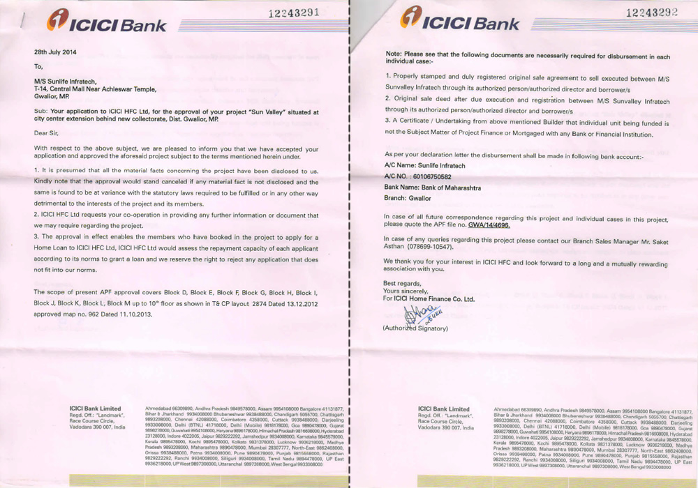 Sun Valley Project Approval by ICICI Bank