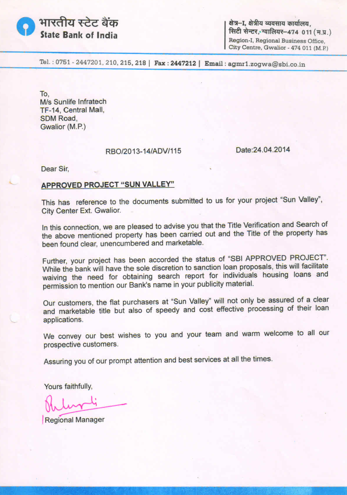 Sun Valley Project Approval by SBI Bank